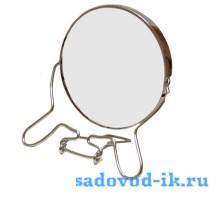 Зеркало в металлической оправе круглое двухстороннее с увеличением (19 см)