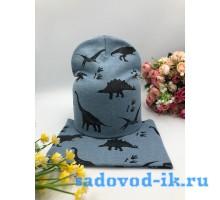 "Комплект шапка+снуд детский ""Динозавры"""