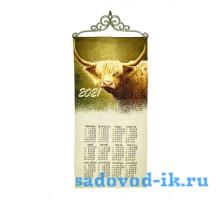 """Календарь из гобелена """"2021 Год быка"""" (33х70)"""